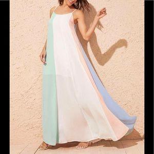 Cut And Sew Panel Swing Hem Cami Dress
